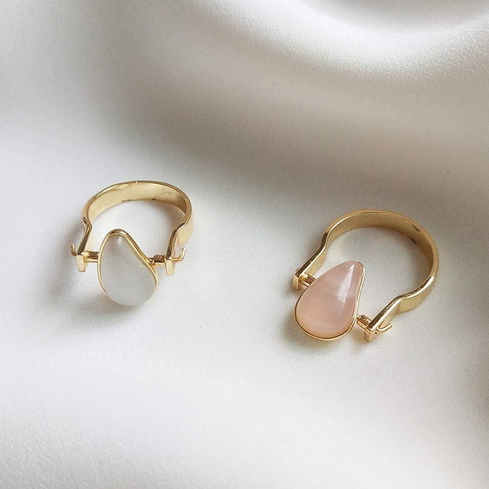 SHEDRWE Anillo de Piedra semipreciosa Rosa Rosa en Forma de lágrima Natural Plata esterlina