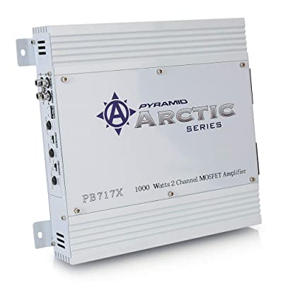 PYRAMID 2 Channel Car Stereo Amplifier - 1000W Dual Channel Bridgeable High Power MOSFET Audio Sound Auto Small Speaker Amp Box w/ Crossover, Variable Gain Control, RCA IN/OUT, LED Indicators - Pyle PB717X: Car Electronics