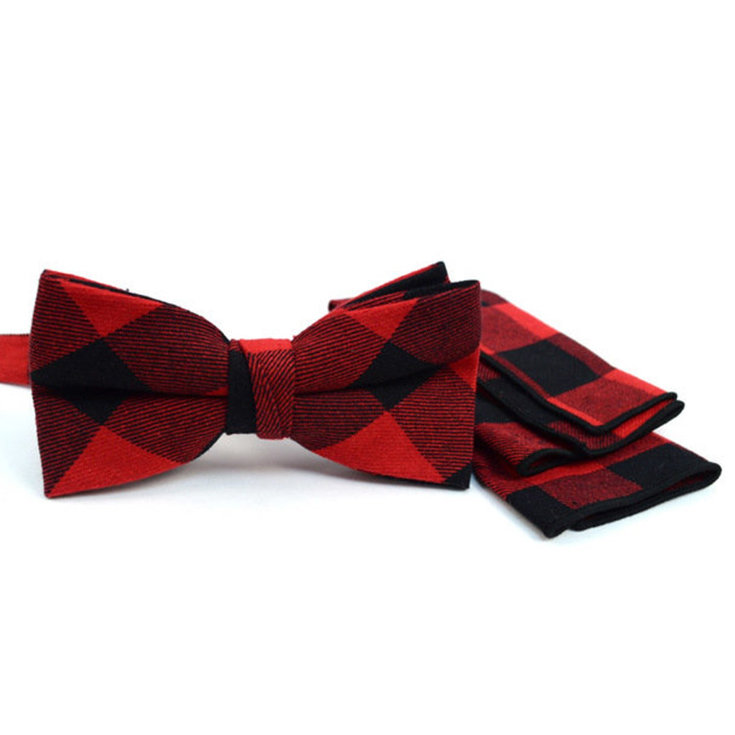 Men's Red and Black Plaid Bow Tie and Matching Pocket Square Boxed-gifts