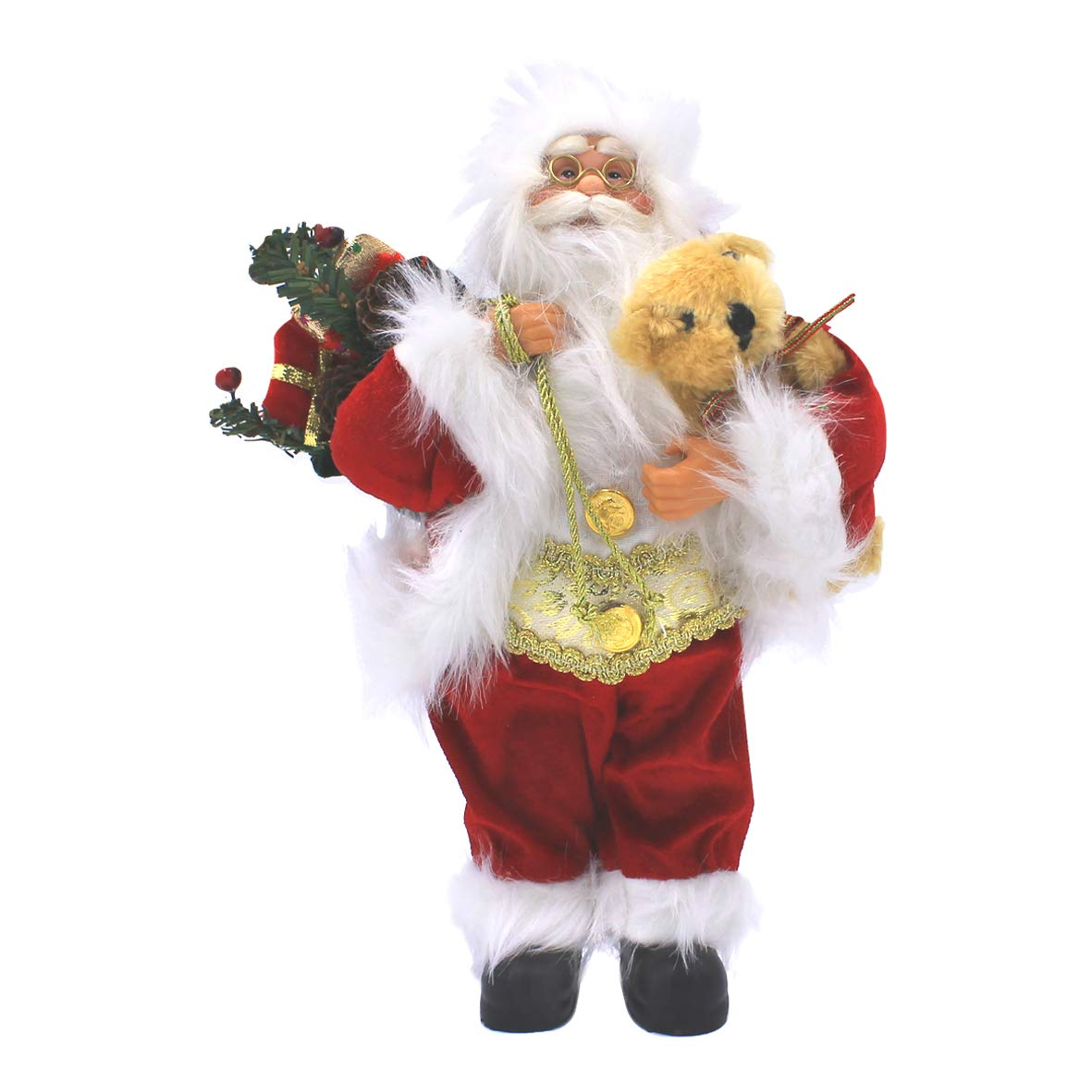 The Christmas Workshop Santa Claus Figure ~ 30cm ~ Indoor ~ Red White and Green ~ Christmas Decoration ~ 81970
