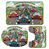3 Piece Bath Mat Rug Set,Kids-Toddlers-Room-Decor,Bathroom Non-Slip Floor Mat,Colorful-Funny-Animals-in-Cars-Doggy-Piggy-Kitten-Horse-Monkey-Lion-Decorative,Pedestal Rug + Lid Toilet Cover + Bath Mat,