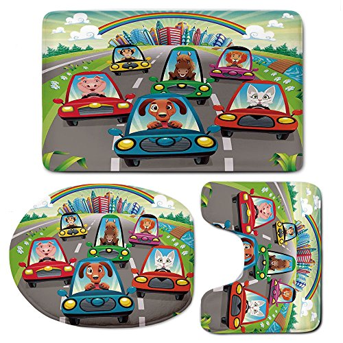 3 Piece Bath Mat Rug Set,Kids-Toddlers-Room-Decor,Bathroom Non-Slip Floor Mat,Colorful-Funny-Animals-in-Cars-Doggy-Piggy-Kitten-Horse-Monkey-Lion-Decorative,Pedestal Rug + Lid Toilet Cover + Bath Mat, by iPrint