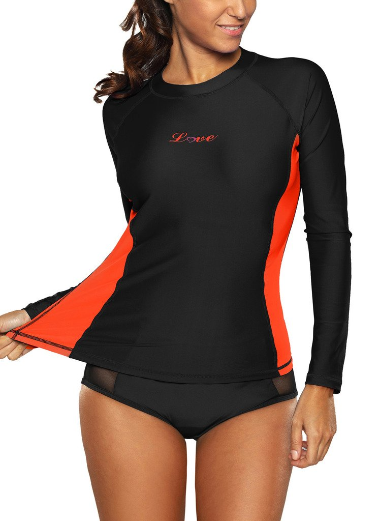 ALove Long Sleeve Rash Guard Top Women UV Shirt Athletic Top for Women Black Small by ALove (Image #6)