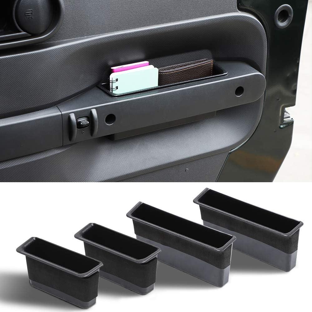 Black Savadicar Door Side Storage Organizer Grab Handle Bin for 2007-2010 Jeep Wrangler JK JKU Interior Accessories
