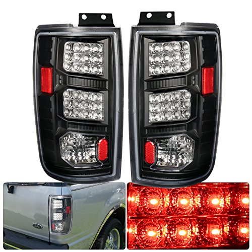 For 97-02 Ford Expedition Led Tail Lights Black Housing Clear Lens Lh+Rh Rear Brake ()