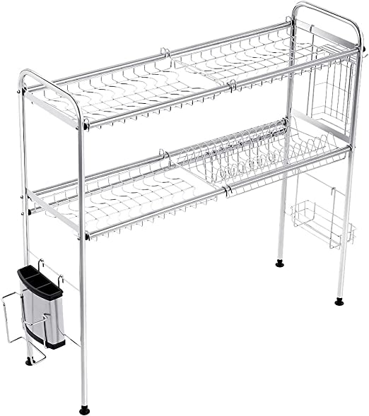 ❤ Large 2 Tier Stainless Steel Capacity Drainer Dish Drying Rack Kitchen Storage