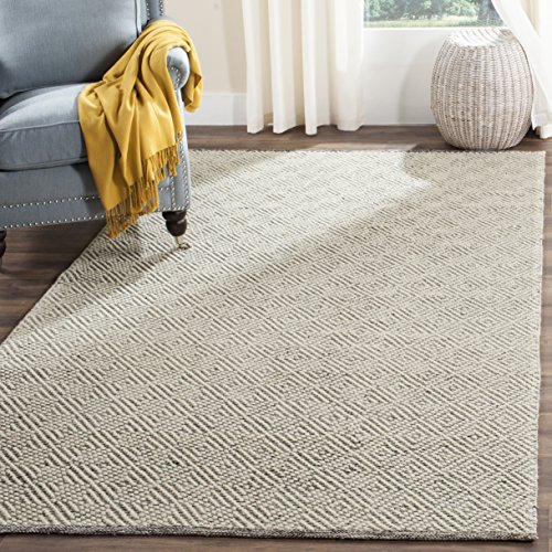 Safavieh NAT503A-6 Natura Collection Handmade Premium Wool & Cotton Area Rug, 6' x 9', Ivory/Light Grey