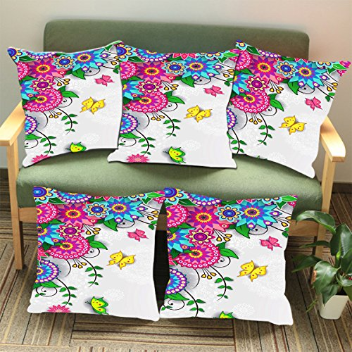 Aart Floral Pattern Designer Cushion Cover (Set of 5) 16*16