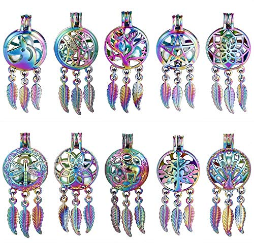 Mix 10pcs Colored Owl Lotus Unicorn Elephant Peacock Star Dream Catcher Pearl Beads Essential Oil Diffuser Locket Pendant ()