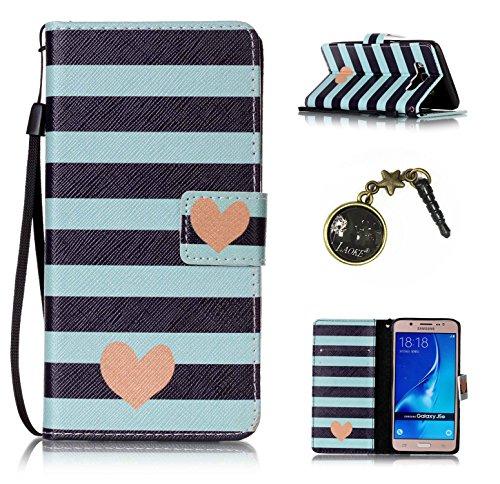 Para Smartphone Samsung Galaxy J5(2016) J510móvil, piel para Samsung Galaxy J5(2016) J510Flip Cover Funda Libro Con Tarjetero Función Atril magnético (+ Polvo Conector) negro 9 2