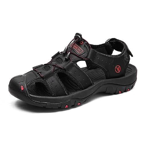 eb70553a761ad5 Sandales Homme Cuir Marche Randonnée Fermées Été Extérieur Chaussures de  Sport Plage Marron Vert 38-