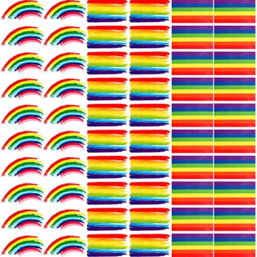 60 Sheets Rainbow Stickers Rainbow Temporary Stickers Colorful Decorative Tattoo for Party Celebration Supplies (Style Set 2)