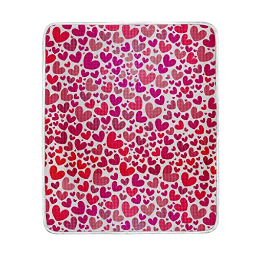 ALAZA Valentines Day Heart Plush Throws Siesta Camping Trave