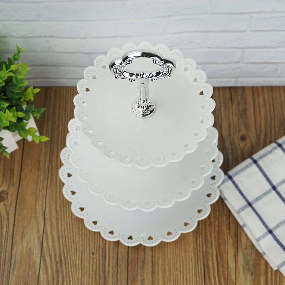 Artliving 3-tier Plastic Cake Stand Cupcake Stand Dessert Stand Pastry Stand Tea Party Serving Platter White(Set of 2)