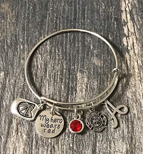 Personalized Firefighter Bracelet with Initial Charm, Red Line Bracelet, Firefighter Wife, Girlfriend, Mom Bracelet, Fireman Wife Jewelry ()