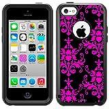 Commuter Apple iPhone 5C Case - Damasks Pattern Pink on Black Case