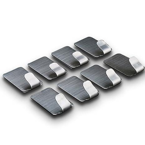 SPAHER Self Adhesive Toalleros de gancho Bañera Colgadores Acero inoxidable 3M adhesivos removible Racks ganchos de pared para cocina baño 8 piezas