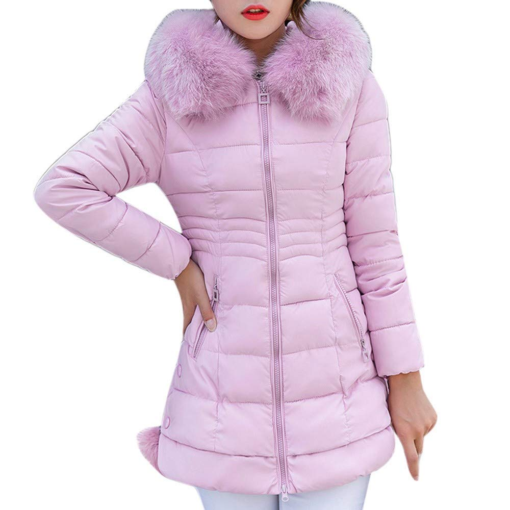 CHIDY Womens Down Puffer Jacket Solid Slim Fit Zip Up Lightweight Coat Warm Outwear with Faux Fur Hood(XX-Large,Pink) by CHIDY
