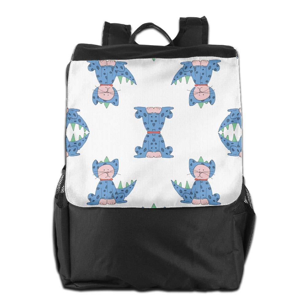 1e03100ff419 Amazon.com: AQJBFT Cat Blue School Bag Canvas Book Bag School ...