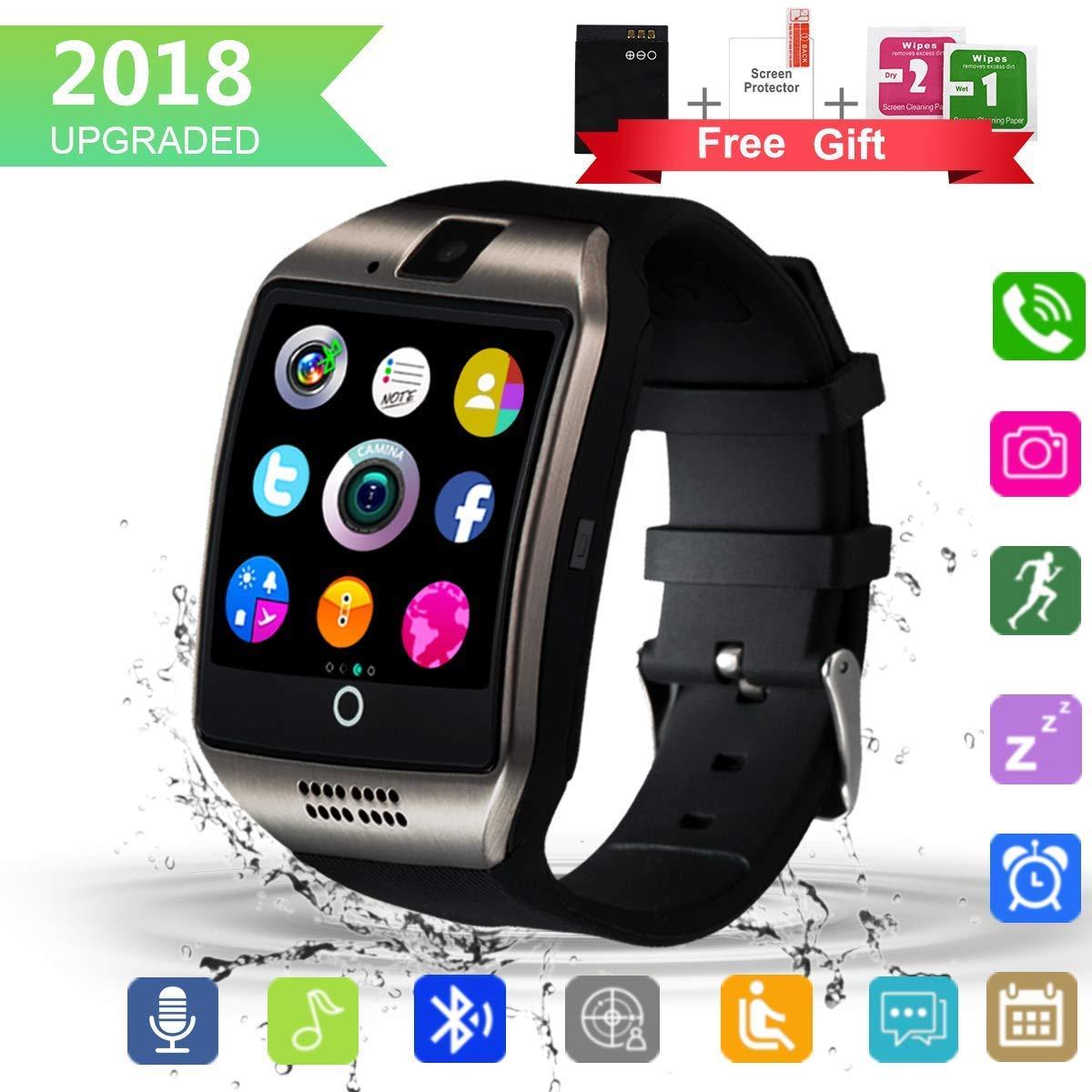 Smartwatch, Impermeable Reloj Inteligente Redondo con Sim Tarjeta Camara Whatsapp, Bluetooth Tactil Telefono Smart Watch Smartwatches para Android iOS ...