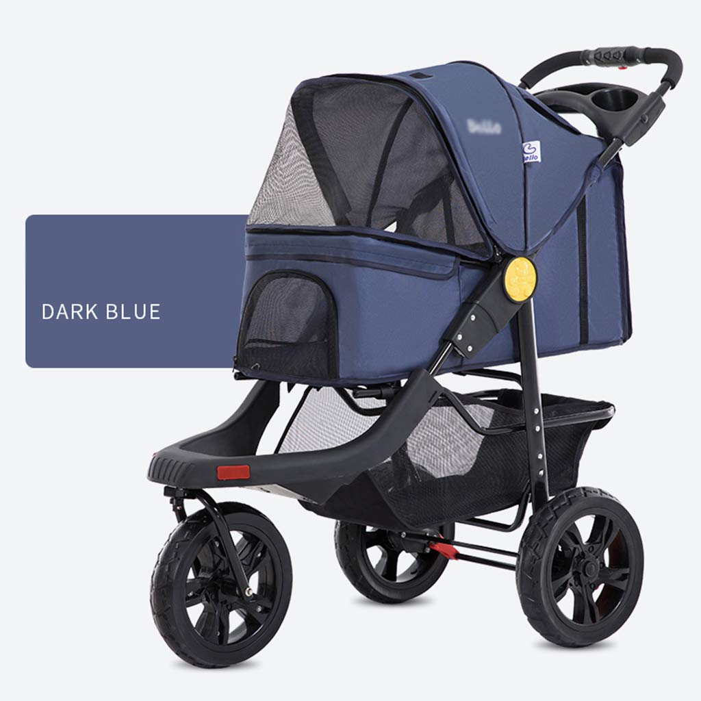 Darkbluee Strolle Large Fold Pet Trolley Dog Cat Dog Stroller Cage Three Wheels Pet Go Out Supplies Box Breathable Outdoor Light Strolle Multifunction Pet Trolley,darkbluee