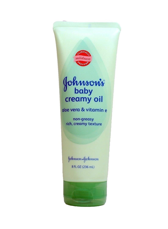 Johnsons Baby Oil Creamy Aloe & Vitamin E, 8 fl oz each