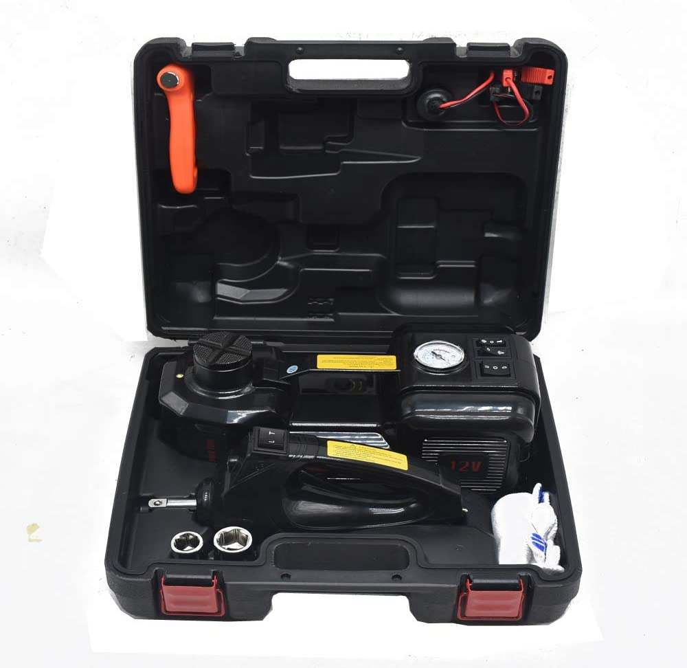 1T Hydraulic Jacks with Electric Wrench Car Workshop Wrench Set Tire Repair Tools for Sedan SUV Off-Road Vehicles Universal Electric Floor Jack Set,Black