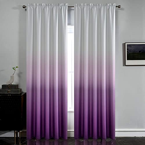 Yakamok Room Darkening Gradient Curtain Panels Ombre Purple Blackout Curtains Thermal Insulated Rod Pocket Window Drape