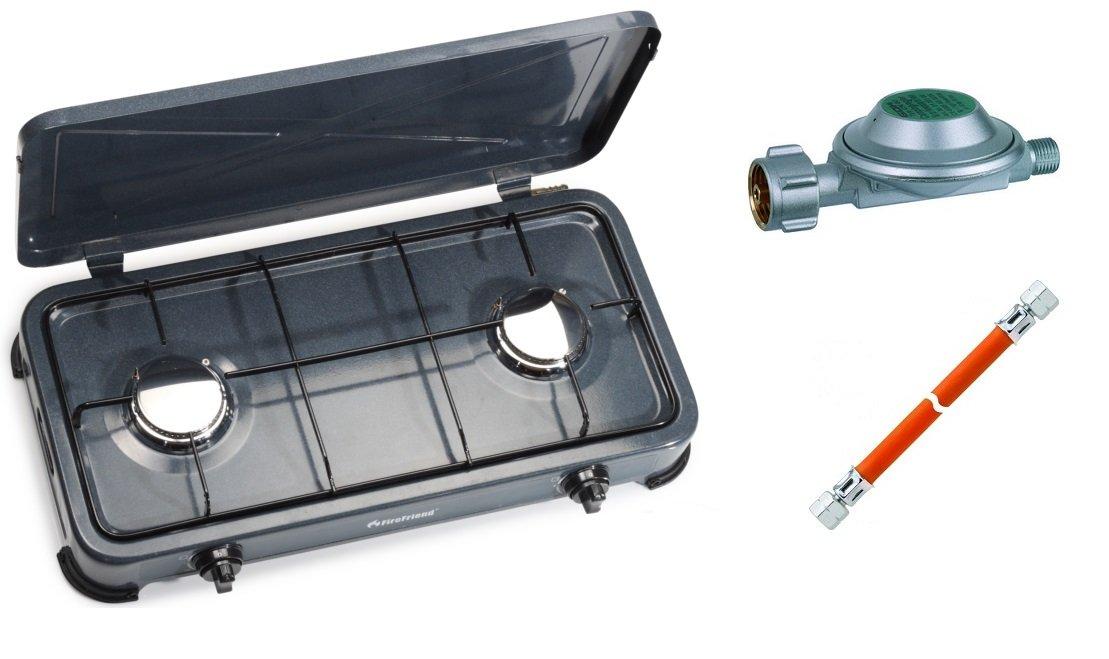 Campingkocher Gaskocher 2 flammig 3kW Zündsicherung Piezozündung Gas + 1mtr. Gasschlauch + Regler