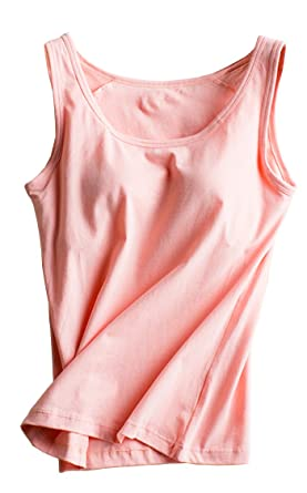 d799416f5249e Foxexy Womens Cotton Strap Built-in Bra Padded Active Camisole Tank Top  Pink US 0