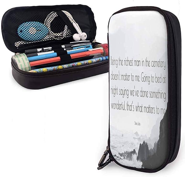 Estuche de lápices QiangQ con bolsa de cuero con almacenamiento con cremallera si la oportunidad no golpea Construir una puerta. & mdash; Milton Berle Adecuado para escuela/oficina 3.54x7.87x1: Amazon.es: Oficina y papelería