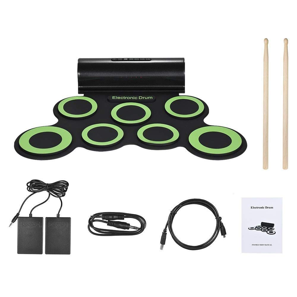 Roll Up Drum Kit, Roll Up Drum Kit Support DTX Game 7 Silicon Pads Practice MIDI Electronic Drum Set With Headphone Jack Built-in Speaker Sustain Pedals Drum Sticks Recording Playback Functions Gift F