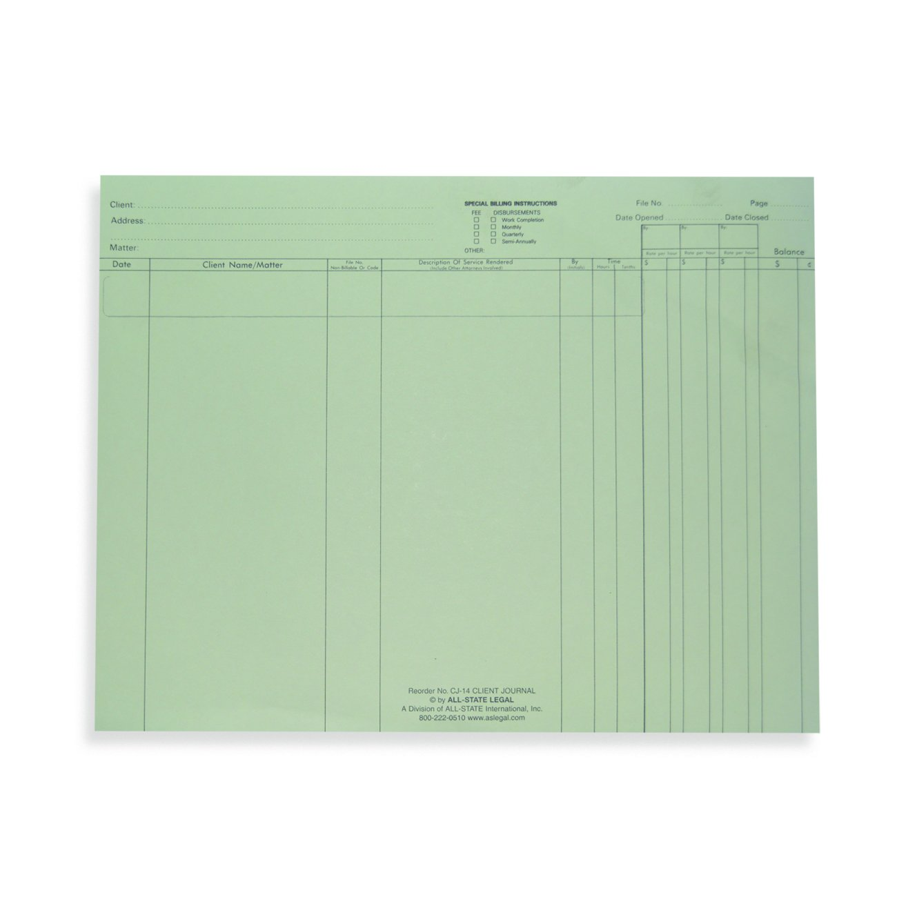 ALL-STATE LEGAL Client Journal Sheets for Time Record Systems, 11'' x 8 1/2'', Green Ledger, Printed, 100/PK