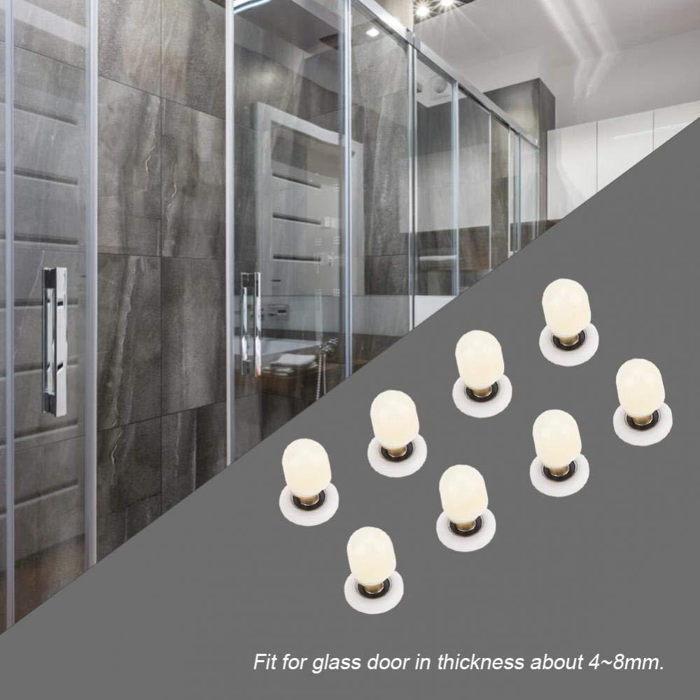 8pcs Rodillos de Puerta de ducha de Lat/ón ABS Corredores Poleas Rodamientos para Puertas de ba/ño piezas de repuesto para el ba/ño Puerta corredera de vidrio 20mm