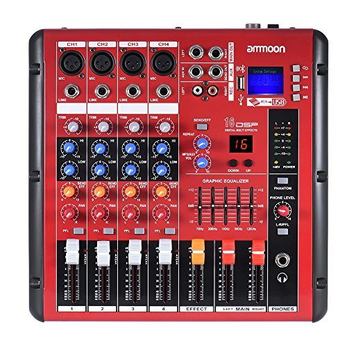 ammoon Digital Bluetooth 4-Channel Mic Line Audio Mixer Mixing Console 2-band EQ with 48V Phantom Power USB Interface for Recording DJ Stage Karaoke Music Appreciation by ammoon