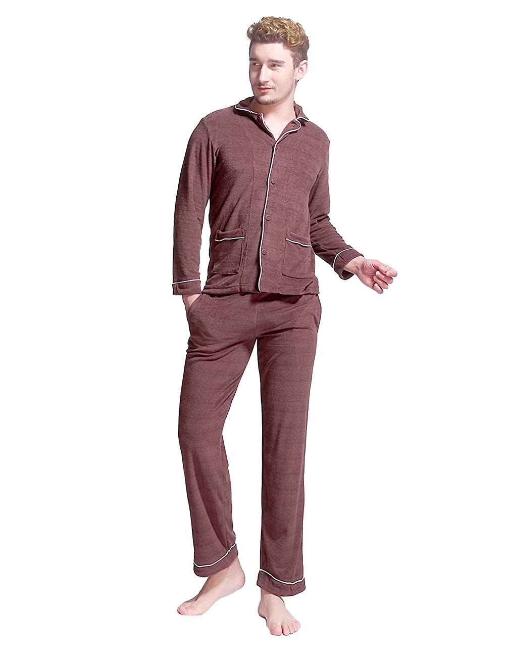 Godsen Men's Button Down Pajama Lounge Sets Tops & Bottoms 8721801