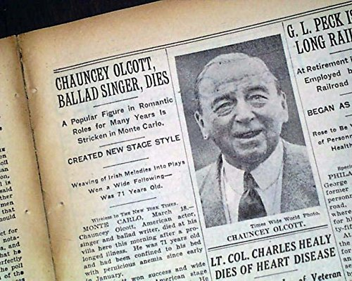 CHAUNCEY OLCOTT Irish-American Actor Songwriter Singer DEATH 1932 Old Newspaper THE NEW YORK TIMES, March 19, 1932
