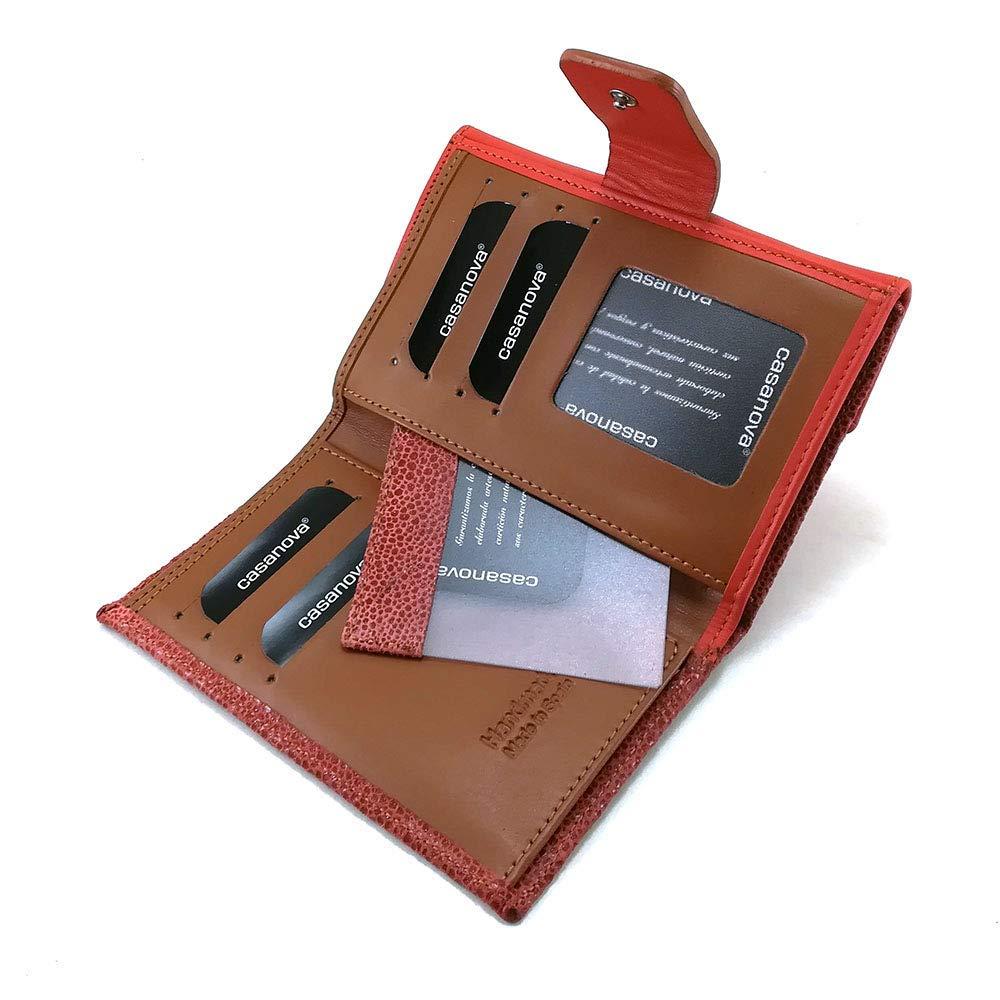 Cartera para mujer, hecho a mano en España, marca casanova, hecha en piel de vacuno, Ref. 25614 Naranja: Amazon.es: Handmade
