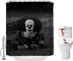 Halloween Shower Curtain Set for Bathroom- IT Pennywise The Dancing Clown Scary Killer, Horror Movie Themed Holiday Polyester Decoration with Hooks and Toilet Stickers, Christmas Party Decor 72x72