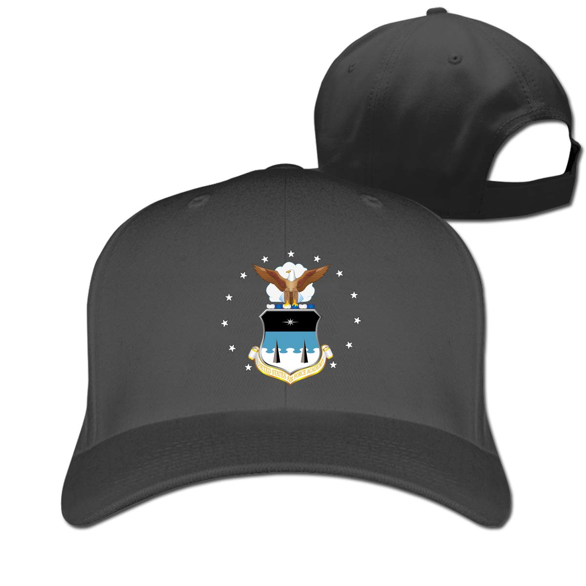 States Air Force Academy Logo Fashion Adjustable Cotton Baseball Caps Trucker Driver Hat Outdoor Cap Black