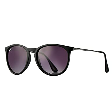 32b72632953 Polarized Sunglasses for Women Classic Round Style 100% UV Protection  (Rubber Black Grey