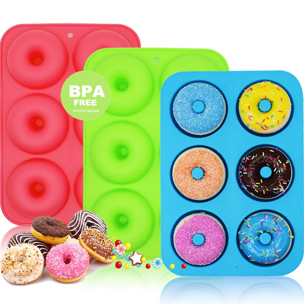 WALFOS Nonstick Silicone Donut Pans Set of 3,BPA Free ! Without Chemical Coating,Just Pop Out! Donut Molds for Baking Perfect Shaped Doughnuts - Cake Biscuit Bagels