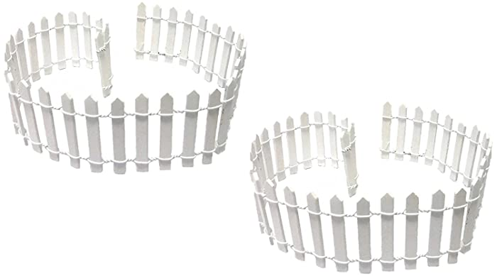 """Miniature Fairy Garden White Wood Picket Fence, 18"""" by 2"""" (2 pack)"""