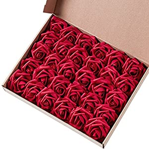 Marry Acting Artificial Flower Rose, 30pcs Real Touch Artificial Roses for DIY Bouquets Wedding Party Baby Shower Home Decor (Dark Red)