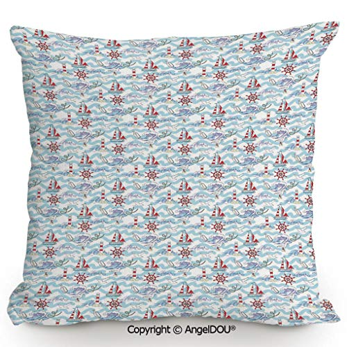AngelDOU Decorative Cotton Linen Pillowcase with core,Wavy Stripes Ocean Ship Steering Wheel Message in a Bottle Seagulls,Sofa Bedroom Car Eco-Friendly Pillow Cushion.17.7x17.7 inches (Message In A Bottle Cover Machine Head)
