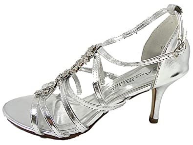 cf3d4e5e00b WOMENS DIAMONTE EVENING WEDDING STRAPPY SANDALS MID HEEL SILVER GOLD (Uk 3