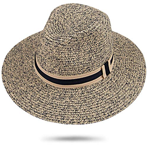 (Maylisacc Summer Panama Hat Women Men Wide Brim Beach Straw Fedora Hats Sun-Sombrero (Mixnavy SZ))