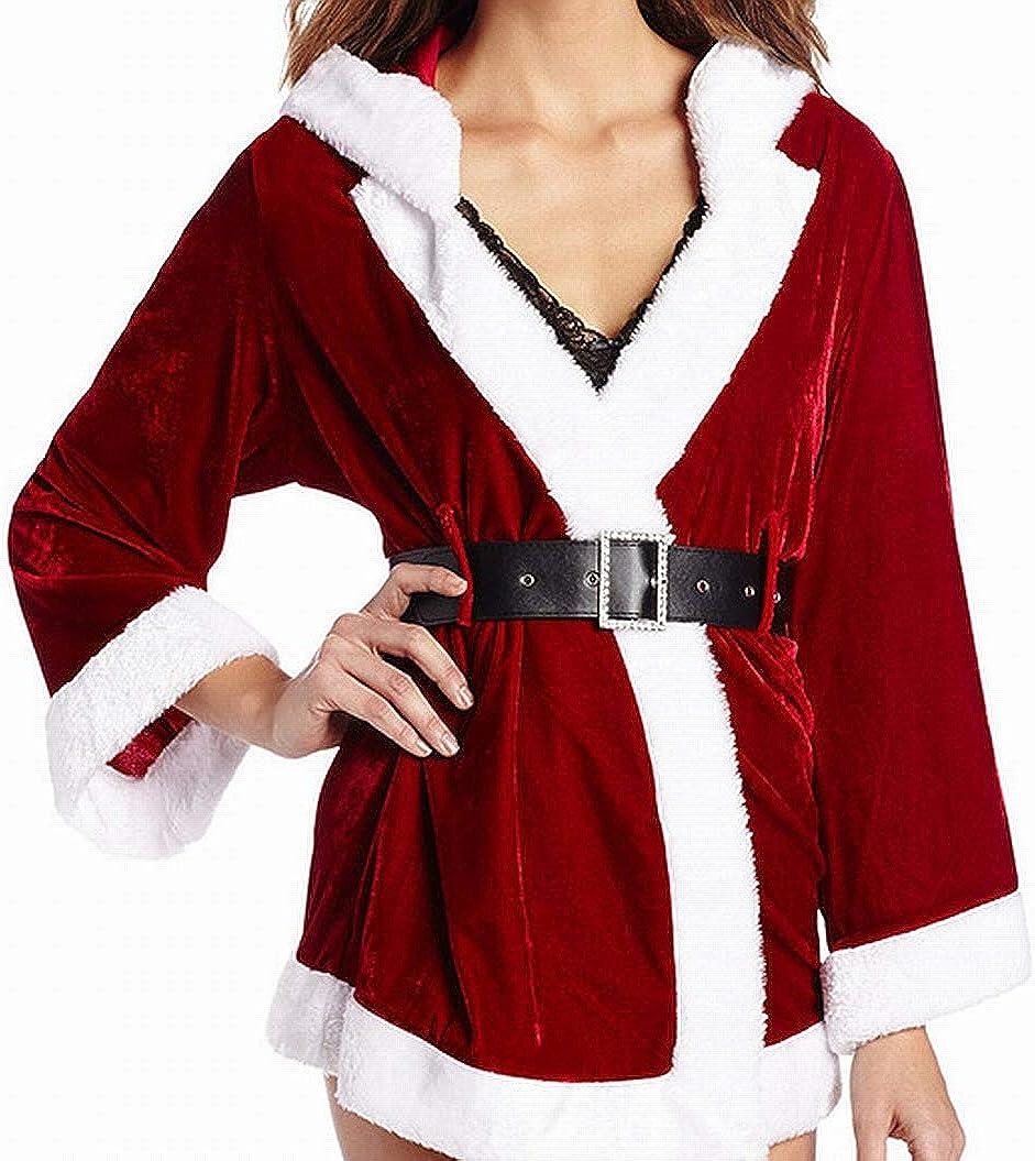 Xmas Santa Ladies Soft Long Collar Hooded Stars Fleece Bath Robe Dressing Gown