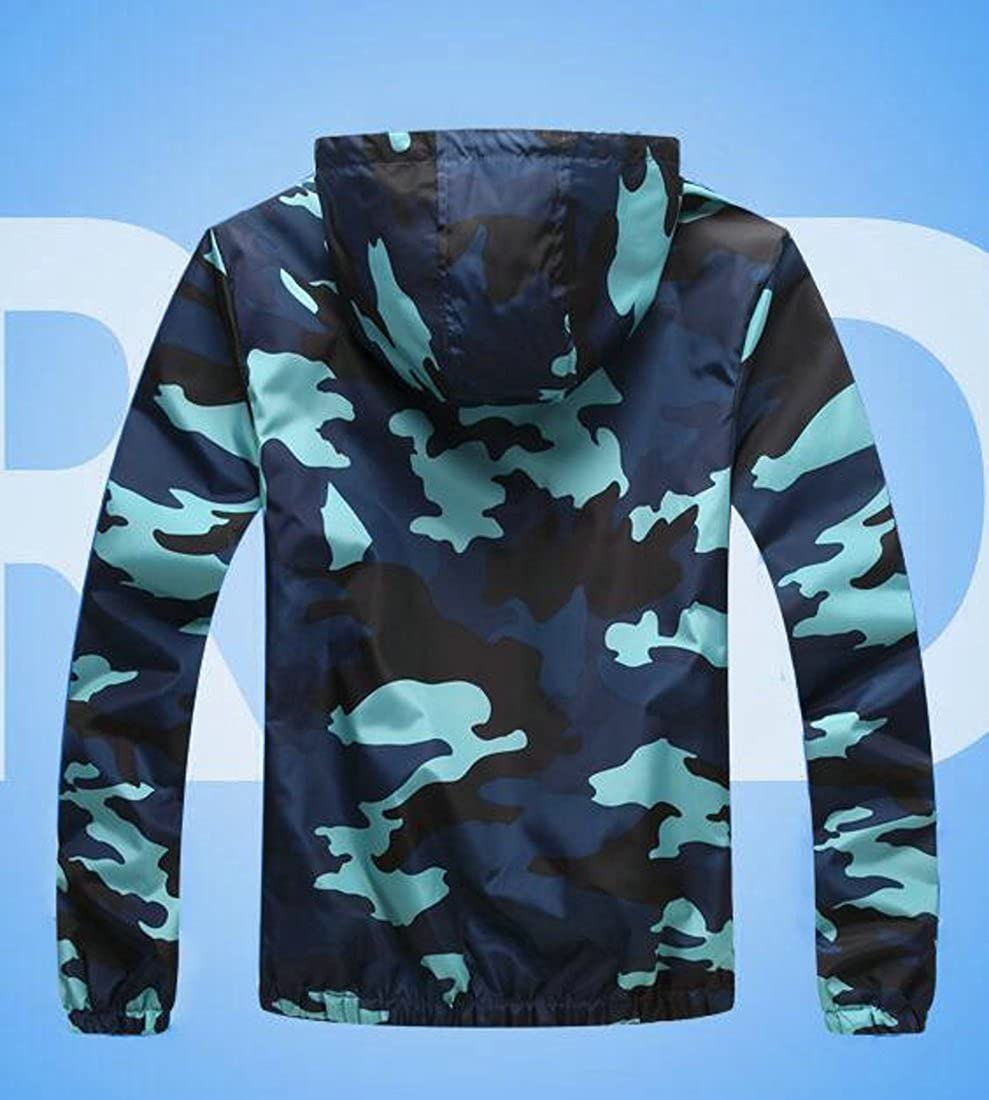 GloryA Women Long Sleeve Lightweigth Waterproof Plus Size Coat Hoodie Camo Jacket