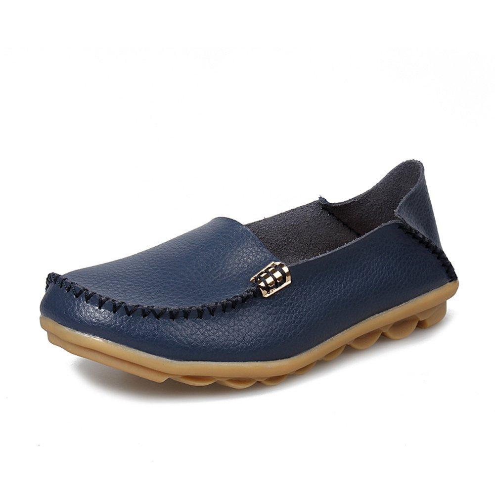 CCZZ Damen Mokassins Leder Casual Halbschuhe Slipper Freizeit Flache Sommer Schuhe  EU 37 / CH 38 Navy Blau